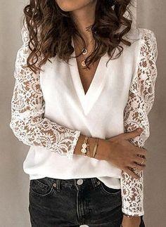 New Women Fashion V-neck T-shrit Lace Tops Long Sleeve T-shirt Casual Shirt Tie Dye Long Sleeve, White Long Sleeve, Summer Blouses, V Neck Blouse, Mode Outfits, Lace Sleeves, Puff Sleeves, Lace Tops, Blouses For Women