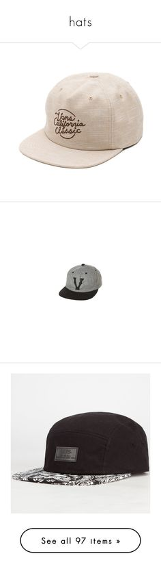 """""""hats"""" by diluca ❤ liked on Polyvore featuring men's fashion, men's accessories, men's hats, hats, natural linen, mens 5 panel hat, accessories, vintage snapbacks, cap snapback and snapback cap"""