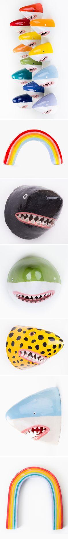 ceramic sharks 'n rainbows by lorien stern <3