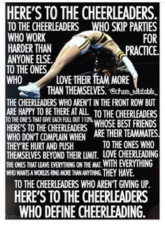 Here's to the real cheerleaders.