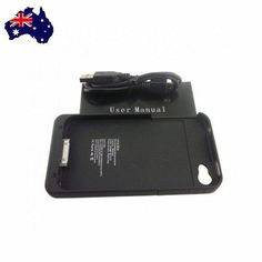 Black External Battery Charger Case 1900mAh Cover 4 iPhone 4 4G 4S Extra Power