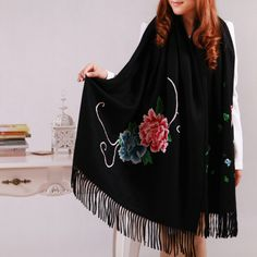 [$799.99] Solid Black Chinese Inspired Vintage Peony Blossom Embroidered Design Luxury Cashmere Scarf with Tassel - Free Shipping