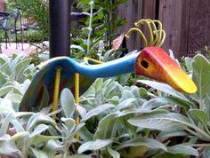 Tropical Bird Yard Art, Handmade Iron Art, Garden Sculpture from Found & Upcycled Items, Garden Decor