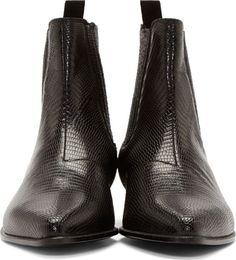 Saint Laurent Black Lizard Skin Winklepicker Boots