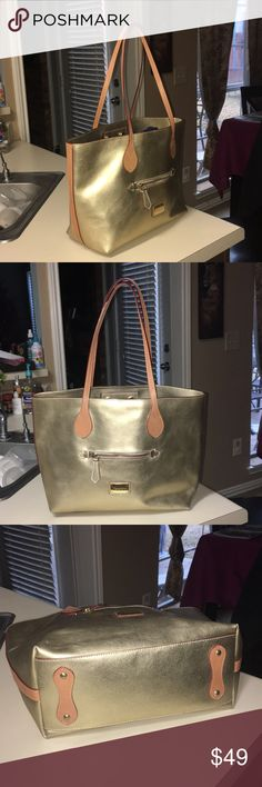 """Neocini handbag Excellent condition, Italian Handbag gold and tan color. No scratches in the straps. Only has just one minimal scratch in front, you can see picture 6. Handbag Dimensions W 18.5""""H 11.8 and base dimensions 13 x 4.8"""" Neocini Bags Shoulder Bags"""