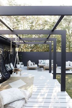 This Three Birds alfresco area is an entertainer's dream back patio furniture, outdoor seating area, outdoor living room furniture and hanging chair Pergola Patio, Backyard Patio, Modern Pergola, Pergola Kits, Cheap Pergola, Modern Patio, Pergola Shade, Black Pergola, Corner Pergola