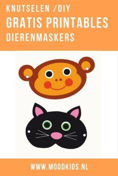Met deze gratis download maak je in no-time zelf leuke dierenmaskers. Downloaden, printen, knippen, elastiekjes. Miauw, klaar! Leuk voor dierendag. Pikachu, Diys, Prints, Design, Character, Invitations, Bricolage, Do It Yourself, Diy