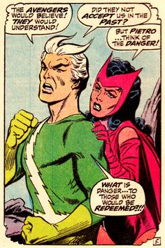 """the Scarlet Witch & Quicksilver (from Amazing Spider-Man #71 - April 1969) by John Romita Sr. & Jim Mooney - """"What is danger... to those who would be redeemed?!!"""""""