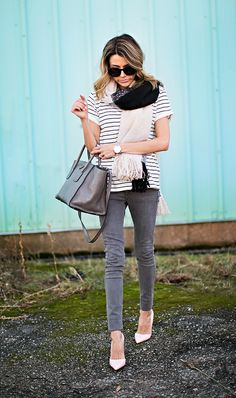 7 Ways to Style Your Striped Tee for Fall (The Everygirl) Chic Outfits, Fashion Outfits, Womens Fashion, Spring Summer Fashion, Autumn Winter Fashion, Spring Outfits, Hello Fashion Blog, Weekend Wear, Denim Fashion