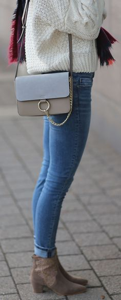 Cozy winter style: Chloe similar bag (only $100!), knit white sweater ($75), ripped skinny jeans, blanket scarf and nude lace booties. By fashion blogger Marie's Bazaar