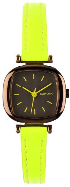 Horloge The Moneypenny dayglow yellow  Retro dameshorloge van Komono.  Gespot op @Steal the Room