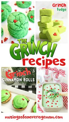 Tons of the Grinch themed recipes, great for movie watcing parties. Rice Krispie Treats, Rice Krispies, Holiday Activities, Holiday Crafts, Grinch Cookies, Ice Cream Recipes, Cinnamon Rolls, 3rd Birthday, Keep It Cleaner