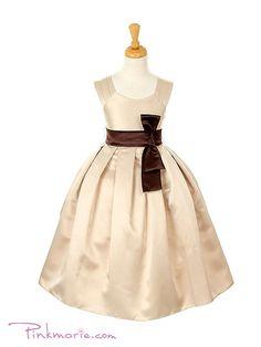 Champagne Elegant Dull Satin Pleated Shoulder Flower Girl Dress
