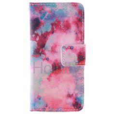 Quermuster Wallet Magnetic Schlag-Standplatz TPU   PU-Leder Tasche für iPhone 5C Rot Sky