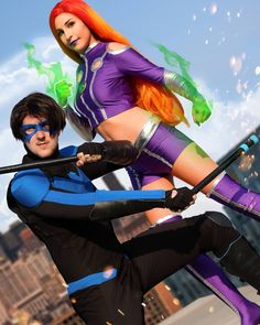 """Stark Luke on Instagram: """"#starfire by @aint.it.ani 📷 by @lauramadlenphotography Edit n #nightwing by @capt_stark  #cosplay #cosplayer #cosplaying #cosplaygirl…"""" Nightwing, Cosplay Girls, Costumes, Instagram, Dress Up Clothes, Fancy Dress, Men's Costumes, Suits"""