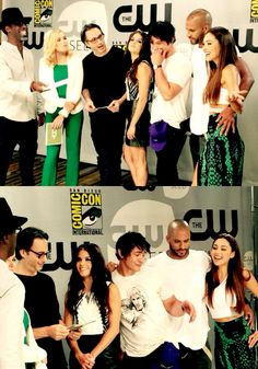 The 100 cast at SDCC 2015 || Isiah Washington, Eliza Jane Taylor, Jason Rothenberg, Marie Avgeropoulos, Bob Morley, Ricky Whittle, Lindsey Morgan || Thelonius Jaha, Clarke Griffin, Octavia Blake, Bellamy Blake, Lincoln, Raven Reyes