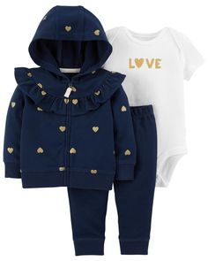 Featuring a slogan bodysuit, coordinating pull-on pants and a zip-up heart jacket, this 3-piece set lets baby layer up or layer down all year long!