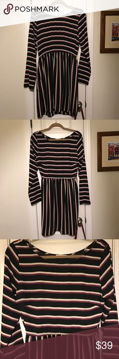 Wow! Everly Long Sleeve Striped Dress Size L 🍁 😍 Couldn't resist this beauty! This Everly dress is perfect for Fall. Long sleeves. 100% Polyester crepe. Fully lined. Black ground with beautiful purple and cream stripes. Couldn't be more flattering. This one is my size - but so I don't end up keeping it! 😜 Everly Dresses Long Sleeve