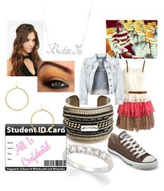 """""""Skewl"""" by lamenk99 ❤ liked on Polyvore featuring Dsquared2, Converse, Disney Couture, DANNIJO, Yochi Design, big bangles and all star shoes"""