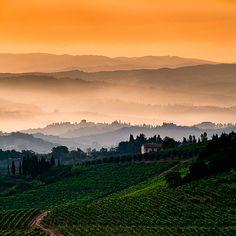 Toscana sunset by Yurii Lebedev