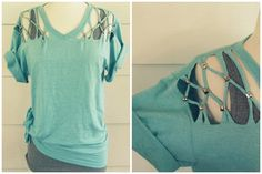 DIY No Sew Lattice Tee Shirt Tutorial from Wobisobi here. For lots more easy tee…