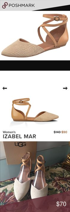 "NEW UGG IZABEL MAR.  Pearl This ladylike flat manages to be simultaneously sophisticated and sweet. Exotic scale-embossed suede forms a delicate almond toe, complemented by the veg tan leather heel and straps. With a whisper of a wedge, the Izabel Mar pairs well with all of your chic spring ensembles. 1/4"" stacked leather wrapped wedge with molded rubber heel and outsole with UGG® logo. UGG Shoes Flats & Loafers"