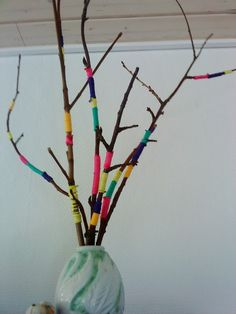 Branches decorated with string