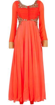 Aneesh Agarwaal presents Embellished orange kurta set available only at Pernia's Pop-Up Shop. Red Lehenga, Anarkali, Lehenga Choli, Bridal Lehenga, Indian Attire, Indian Ethnic Wear, Indian Style, Pakistani Outfits, Indian Outfits
