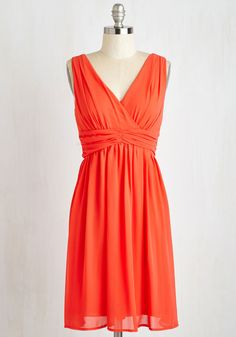 Word for Wowed Dress - Mid-length, Woven, Orange, Solid, Casual, Sundress, A-line, Sleeveless, Summer, Good