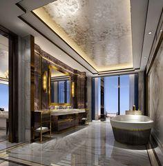 Park Hyatt London, River Thames at One Nine Elms (formerly Wanda Vista Hotel One Nine Elms) — PJC Light Studio Zen Bathroom, Modern Bathroom, Washroom, Apartamento New York, Bathroom Design Luxury, Luxury Interior Design, Modern Pools, Toilet Design, False Ceiling Design
