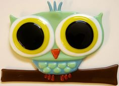 Fused Glass Owl by FusedGlassMenagerie on Etsy, $50.00