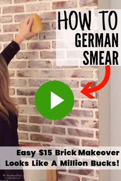 Easily update brick with a DIY german smear technique! Have you heard of the German Schmear, AKA German Smear How to easily update brick with a DIY german smear technique! White Wash Brick Exterior, White Wash Brick Fireplace, Brick Fireplace Makeover, Home Fireplace, Brick Fireplace Remodel, Brick Fireplace Decor, Painted Brick Fireplaces, Brick Exterior Makeover, Painted Brick Exteriors