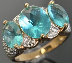 Sterling Silver Gold Vermeil Aquamarine Diamond Three Stone w/ Accents Ring Sz 6 in Jewelry & Watches, Fine Jewelry, Fine Rings | eBay