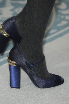 Tory Burch Blue Pump with Gold Heel Detail-Fall 2013