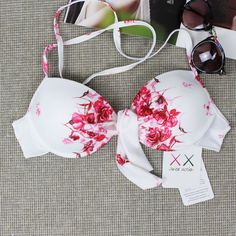 White Floral Swimsuit Swimwear Bikini Set