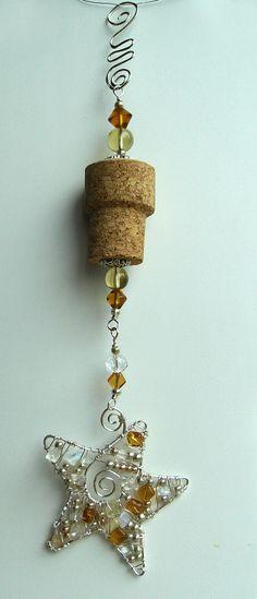 Star wine cork ornament by RissasUniquelyWired on Etsy