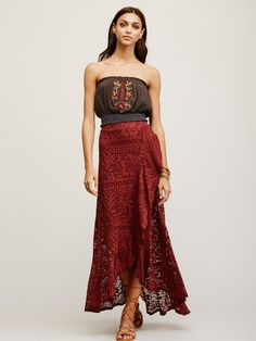 Masquerade Maxi Skirt | In a sheer cotton crochet, this maxi skirt features a wrap silhouette with a slit detail and an elastic waistband for an easy, effortless fit. Lined with a mini skirt.