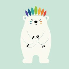 Be Brave Polar - Andy Westface - Affiche premium Art Mignon, Tribal Animals, Poster Online, Rainbow Painting, Baby Drawing, Dibujos Cute, Kids Wallpaper, Art Mural, Baby Art