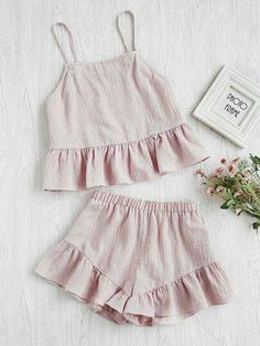 Shop Flounce Hem Cami Top With Shorts Pajama Set online. SheIn offers Flounce Hem Cami Top With Shorts Pajama Set & more to fit your fashionable needs. Mode Outfits, Night Outfits, Summer Outfits, Girl Outfits, Fashion Outfits, Outfit Night, Fashion Clothes, Jolie Lingerie, Lingerie Outfits