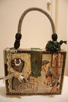 This is an altered cigar keepsake box by H. Hahn using A Ladies Diary! Amazing - love the handle and how she used our Metal Staples! a-ladies-diary Altered Cigar Boxes, Altered Tins, Altered Bottles, Altered Art, Cigar Box Art, Cigar Box Crafts, Cigar Box Purse, Bottle Box, Graphic 45