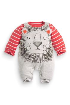 Buy Lion Face Dungarees With Bodysuit (0-18mths) from the Next UK online shop