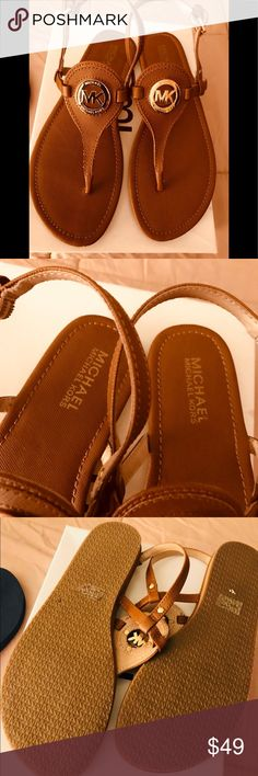 8db11419db67 MICHAEL Michael Kors logo cognac sandals Adorable MK logo thong sandals.  Used once and in