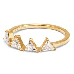 MEHEM silver ring triangle cubic zirconia MH121-JR173-701 #mehem #ring #silver #triangle #goldplated #cubiczirconia #em #emgrp