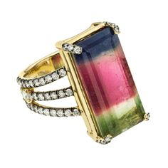 Tourmaline Ring with Pave Diamond Band- some more amazing!