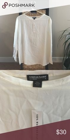 BNWT American Apparel silk top BNWT American Apparel 100% woven silk off-white long sleeved blouse/top in a size M. Feel free to make an offer 😊 American Apparel Tops Blouses