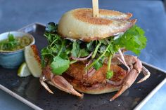 Soft Shell Crab Banh Mi at Little Sister in Manhattan Beach Manhattan Beach Restaurants, Soft Shell Crab, The Dish, Little Sisters, Salmon Burgers, Hamburger, Sparkle, Stuffed Peppers, Dishes