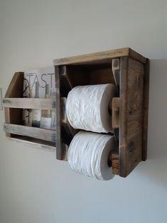 Bathroom Toilet Paper Holders, Toilet Roll Holder, Wall Anchors, Bathroom Toilets, Bathroom Shelves, Wall Hanger, Wood Design, Barn Wood, Magazine Rack