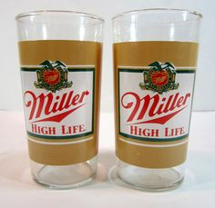 Miller Light Champagne Of Beers Glasses 1980's by TurnerVintage, $8.00