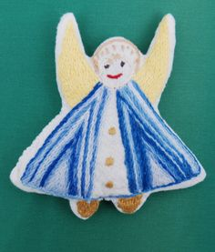 Items similar to Hand embroidered Cloth Dolls Angels on Etsy Blue Angels, White Style, Embroidery Thread, Stuffing, Doll Clothes, Cotton Fabric, Fabrics, Cold, Trending Outfits