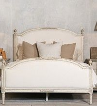 Eloquence Dauphine Bed-antique, french, european, queen, king,upholstered, white, linen, furniture, designer, weathered, swedish, nordic,